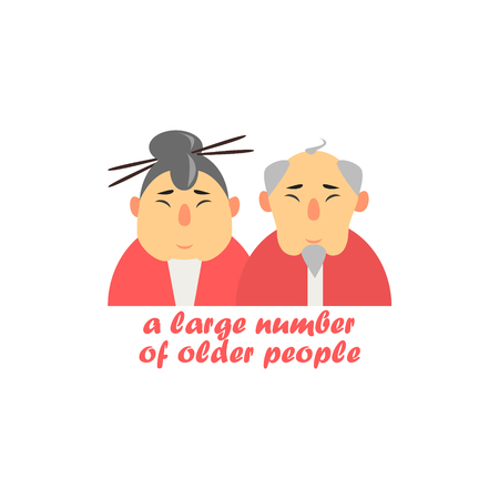characterizing: Old Couple Cartoon Style Flat Vector Illustration On White Background With Text