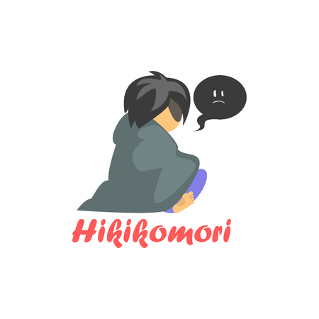 characterizing: Hikimori Cartoon Style Flat Vector Illustration On White Background With Text