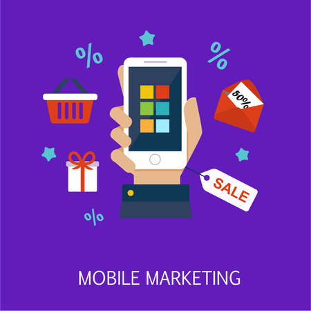 mobile marketing: Mobile Marketing Concept Art Flat Vector Illustration In Bright Colors Infographic Style With Text
