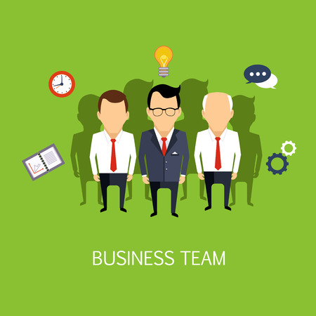 ide: Business Team Concept Art Flat Vector Illustration In Bright Colors Infographic Style With Text
