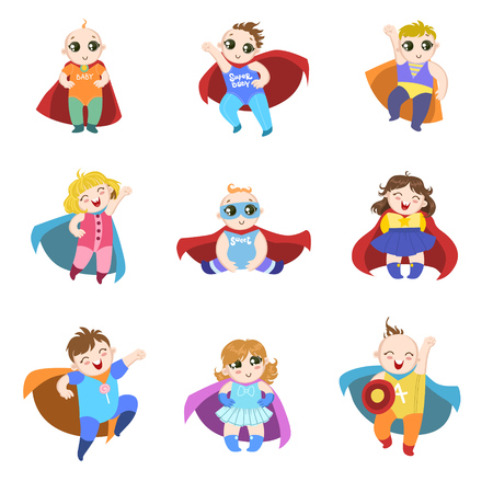 superpowers: Babies Dressed As Superheroes Funny And Adorable Flat Isolated Vector Design Set On White Background