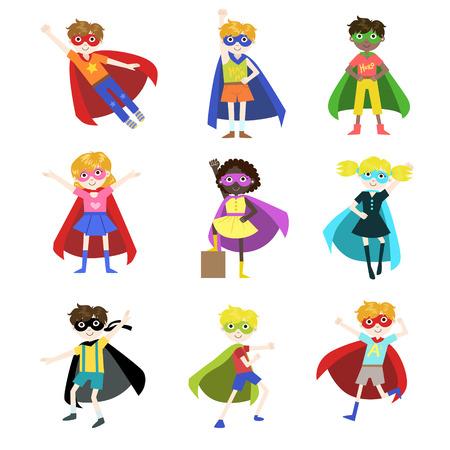白い背景の上のスーパー ヒーロー面白いフラット分離ベクトル デザイン アイコンを設定として服を着た子供たち