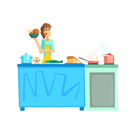 participant: Cooking Contest Female Participant Fun Illustration In Simple Childish Style Flat Vector Design On White Background