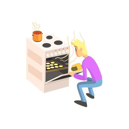 crouching: Guy Taking Out Cookies From Oven Fun Illustration In Simple Childish Style Flat Vector Design On White Background