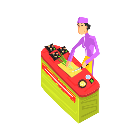 simplified: Sushi Chef Working Fun Illustration In Simple Childish Style Flat Vector Design On White Background