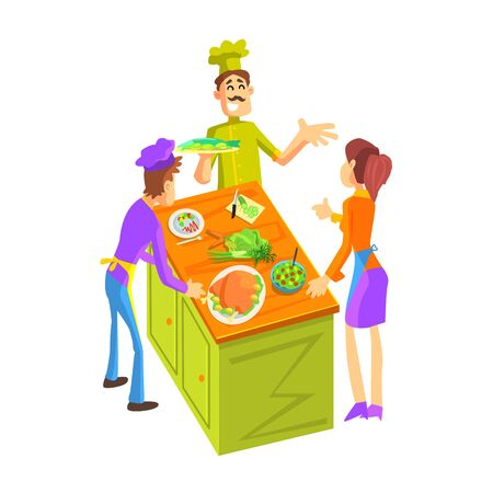 Cooking Class For A Couple Fun Illustration In Simple Childish Style Flat Vector Design On White Background