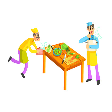 rushing: Young And Old Cook In Kitchen Fun Illustration In Simple Childish Style Flat Vector Design On White Background Illustration
