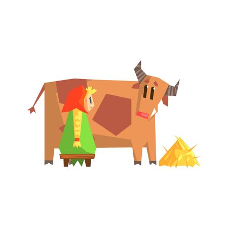 plat: Girl Milking The Cow Primitive Geometric Cartoon Style Flat Vector Design Isolated Illustration