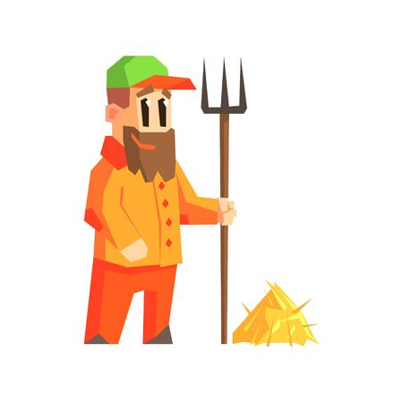 hay: Man With Fork And Hay Primitive Geometric Cartoon Style Flat Vector Design Isolated Illustration Illustration