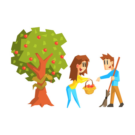 adam and eve: Woman Offering Apples To Guy Primitive Geometric Cartoon Style Flat Vector Design Isolated Illustration