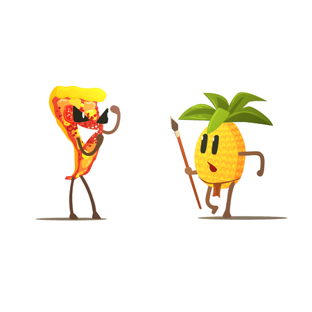 eatable: Pizza Slice Against Pineapple Cartoon Fight Flat Vector Funny Illustration In Childish Style On White Background