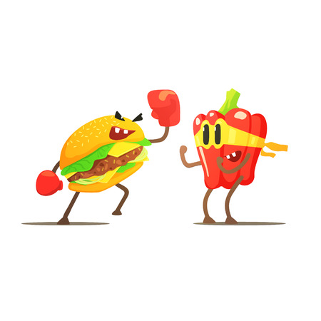 against: Hamburger Against Pepper Cartoon Fight Flat Vector Funny Illustration In Childish Style On White Background
