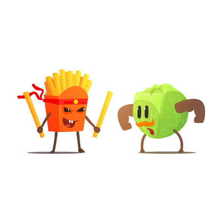 deep fried: French Fries Against Cabbage Cartoon Fight Flat Vector Funny Illustration In Childish Style On White Background Illustration