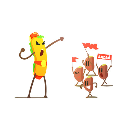 eatable: Hot Dog Against Beans Cartoon Fight Flat Vector Funny Illustration In Childish Style On White Background
