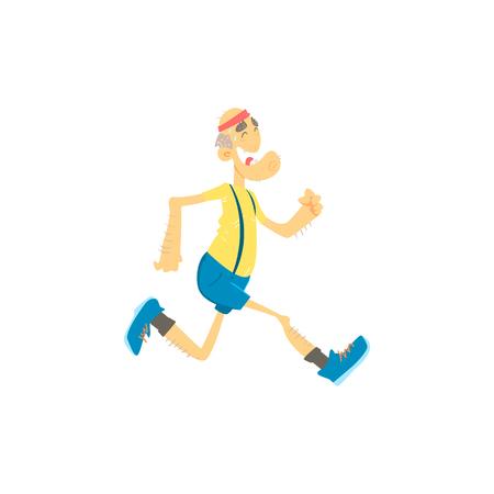 Old Man Jogging Mignon Style Cartoon Isolé plat Illustration Vecteur Sur fond blanc Vecteurs
