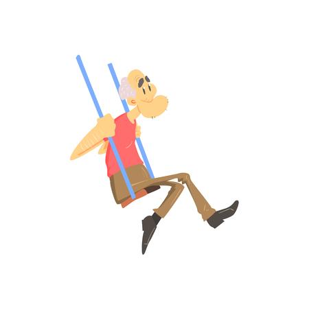 Viejo hombre en oscilaciones estilo de dibujos animados lindo aislado de la ilustración plana vectorial sobre fondo blanco