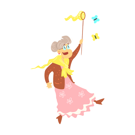 Old Lady Catching Butterflies Cute Cartoon Style Isolated Flat Vector Illustration On White Background