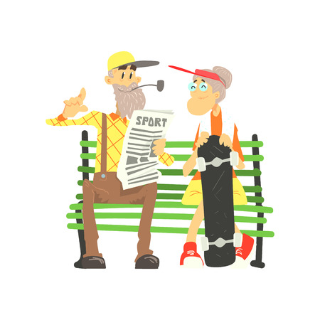unexpected: Old Couple With Skateboard Cute Cartoon Style Isolated Flat Vector Illustration On White Background