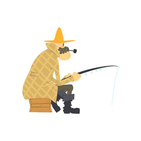 Pesca del viejo hombre del estilo de la historieta linda aislado de la ilustración plana vectorial sobre fondo blanco
