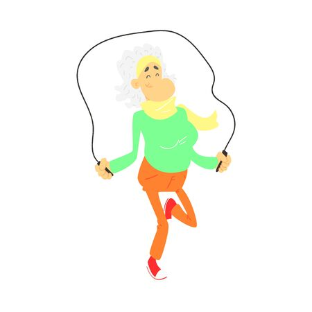 skip: Old Lady With Skip Rope Cute Cartoon Style Isolated Flat Vector Illustration On White Background
