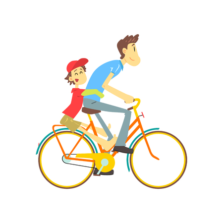 Father And Son On Bicycle Flat Isolated Vector Image In Cute Cartoon Style On White Background