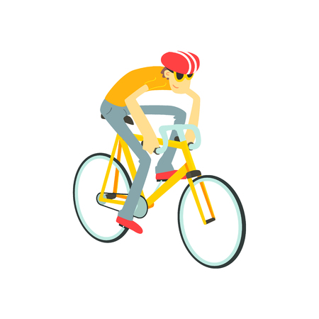 stirring: Man Racing On Bicycle Flat Isolated Vector Image In Cute Cartoon Style On White Background