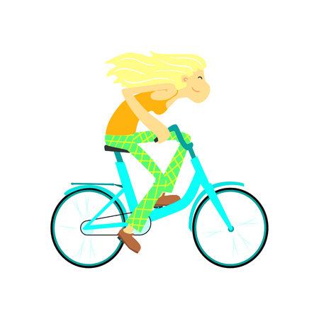 Girl Fast Riding Bicycle Flat Isolated Vector Image In Cute Cartoon Style On White Background 向量圖像