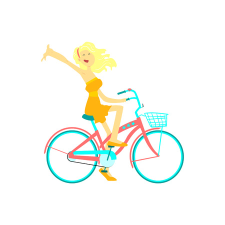 stirring: Happy Girl Riding Bicycle Flat Isolated Vector Image In Cute Cartoon Style On White Background Illustration