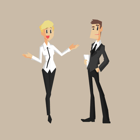 finance department: Man And Woman Colleagues Primitive Geometric Cartoon Style Flat Vector Design Isolated Illustration