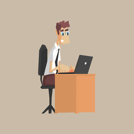 lap top: Tech Support Office Worker Primitive Geometric Cartoon Style Flat Vector Design Isolated Illustration