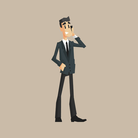 finance department: Office Worker Speaking Mobile Primitive Geometric Cartoon Style Flat Vector Design Isolated Illustration