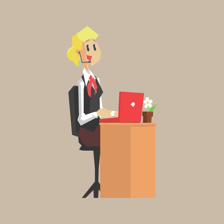 lap top: Call Center Worker Primitive Geometric Cartoon Style Flat Vector Design Isolated Illustration