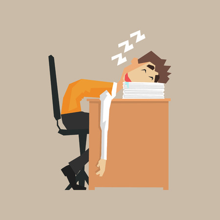 Office Worker Sleeping On Pile Of Papers Primitive Geometric Cartoon Style Flat Vector Design Isolated Illustration