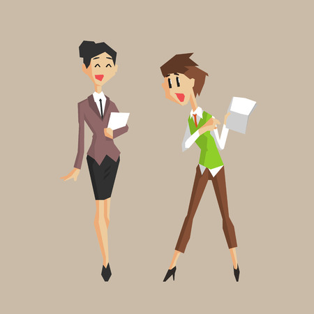 colleagues: Women Colleagues Talking About Papers Primitive Geometric Cartoon Style Flat Vector Design Isolated Illustration Illustration