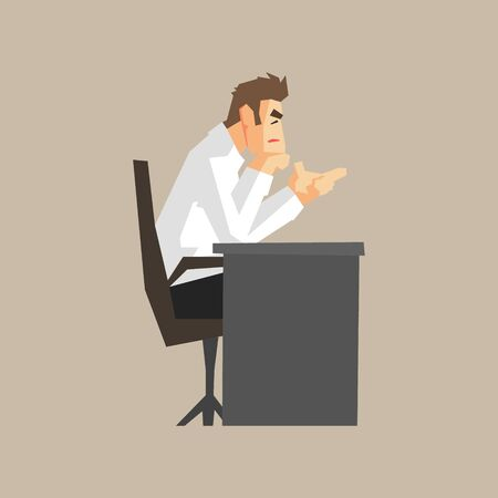 finance department: Boss At His Desk Primitive Geometric Cartoon Style Flat Vector Design Isolated Illustration Illustration