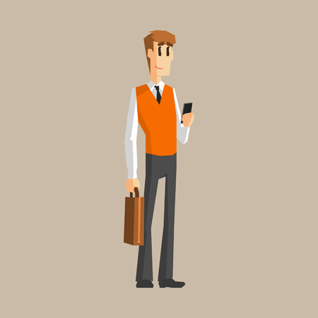 set going: Office Worker With Cell Phone Primitive Geometric Cartoon Style Flat Vector Design Isolated Illustration