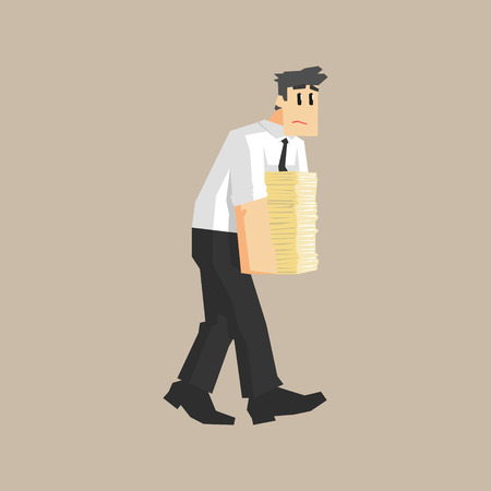 man carrying: Man Carrying Pile Of Papers Primitive Geometric Cartoon Style Flat Vector Design Isolated Illustration