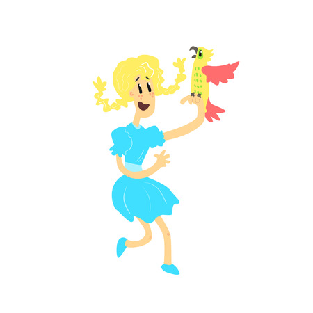 plats: Young Girl With Parrot Flat Isolated Vector Simple Drawing On White Background In Funny Cartoon Style Illustration