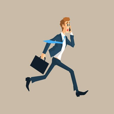 running late: Office Worker Running Late Primitive Geometric Cartoon Style Flat Vector Design Isolated Illustration Illustration