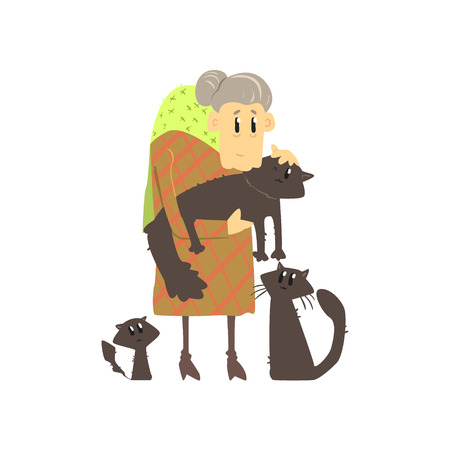 unlucky: Old Lady With Three Cats Flat Isolated Vector Simple Drawing On White Background In Funny Cartoon Style Illustration