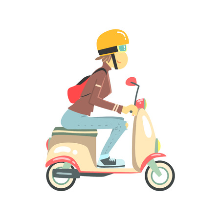 woman girl: Women Riding Pink Girly Scooter  Flat Isolated Vector Simple Drawing On White Background In Cartoon Style Illustration