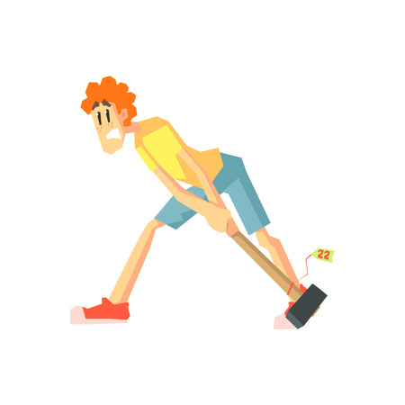 dragging: Woman Dragging A Hammer Flat Isolated Vector Illustration in Cartoon Geometric Style On White Background