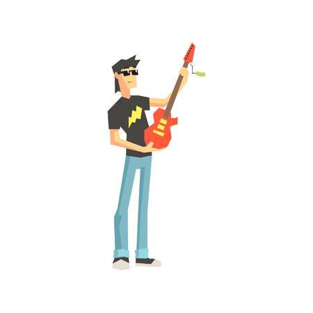 electro: Guy Buying Electro Guitar Flat Isolated Vector Illustration in Cartoon Geometric Style On White Background Illustration