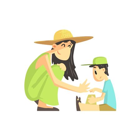 simplified: Mother And Son In Sandbox Flat Vector Simplified Childish Cartoon Style Illustration Isolated On White Background