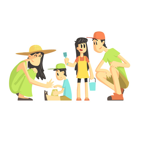 sandpit: Family Of Four In Sandbox Flat Vector Simplified Childish Cartoon Style Illustration Isolated On White Background Illustration