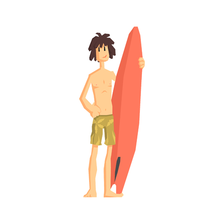 simplified: Guy With The Surf Board Flat Vector Simplified Childish Cartoon Style Illustration Isolated On White Background