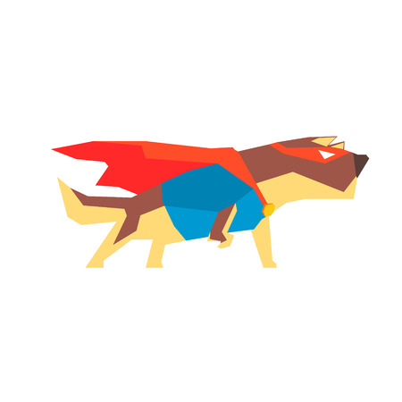 super dog: Dog  Super Hero Character Flat Geometrical Design Cool  Vector Icon On White Background
