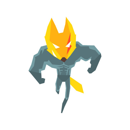 muscly: Muscly Fox Super Hero Character Flat Geometrical Design Cool  Vector Icon On White Background Illustration