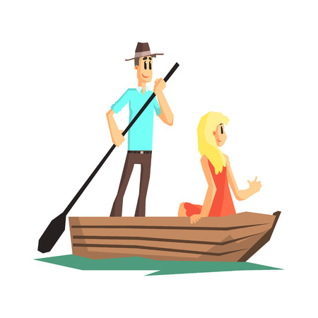 Couple In Wooden Boat Flat Vector Simplified Childish Cartoon Style Illustration Isolated On White Background Ilustração