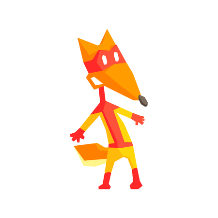 simplified: Fox Super Hero Character Flat Geometrical Design Cool  Vector Icon On White Background Illustration